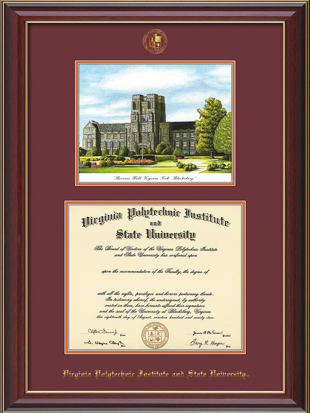 Image of Virginia Tech Diploma Frame - Cherry Lacquer - w/Embossed VT Seal & Name - w/Burruss Hall Campus Watercolor - Maroon on Orange mat