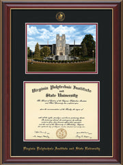 Image of Virginia Tech Diploma Frame - Cherry Lacquer - w/Embossed VT Seal & Name - w/Burruss Memorial Campus Watercolor - Black on Maroon mat