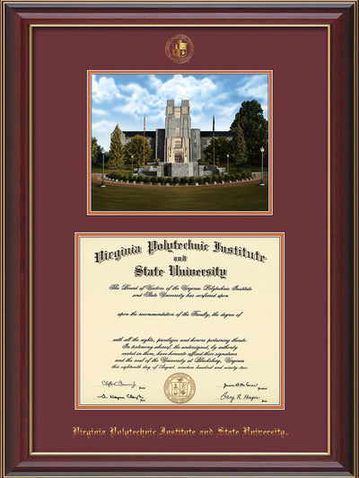 Image of Virginia Tech Diploma Frame - Cherry Lacquer - w/Embossed VT Seal & Name - w/Burruss Memorial Campus Watercolor - Maroon on Orange mat
