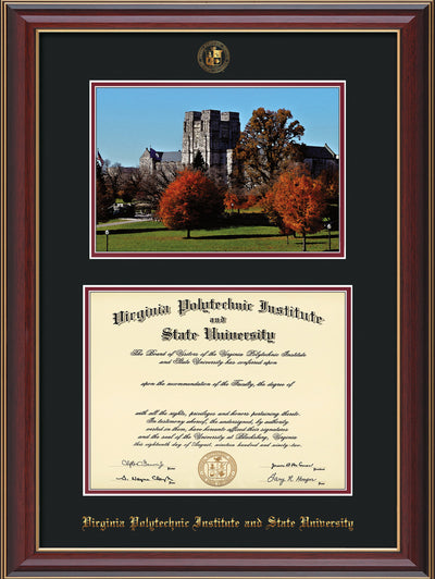 Image of Virginia Tech Diploma Frame - Cherry Lacquer - w/Embossed VT Seal & Name - w/Fall Burruss Campus Watercolor - Black on Maroon mat
