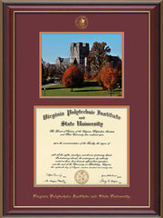 Image of Virginia Tech Diploma Frame - Cherry Lacquer - w/Embossed VT Seal & Name - w/Fall Burruss Campus Watercolor - Maroon on Orange mat
