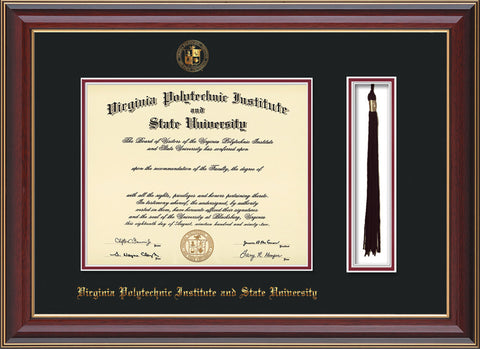 Image of Virginia Tech Diploma Frame - Cherry Lacquer - w/Embossed VT Seal & Name - Tassel Holder - Black on Maroon mat