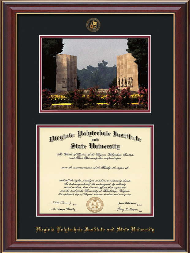 Image of Virginia Tech Diploma Frame - Cherry Lacquer - w/Embossed VT Seal & Name - w/War Memorial Campus Watercolor - Black on Maroon mat