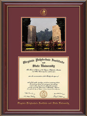 Image of Virginia Tech Diploma Frame - Cherry Lacquer - w/Embossed VT Seal & Name - w/War Memorial Campus Watercolor - Maroon on Orange mat