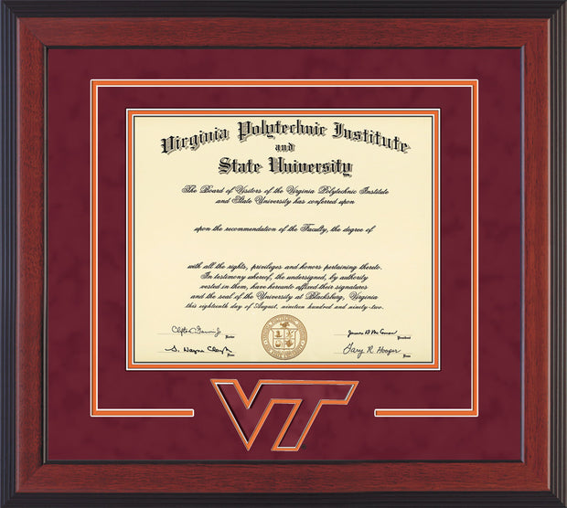 Image of Virginia Tech Diploma Frame - Cherry Reverse - w/3D Laser VT Logo Cutout - Maroon Suede on Orange mat