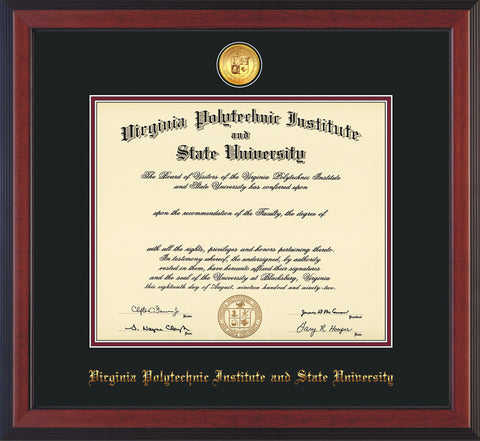 Image of Virginia Tech Diploma Frame - Cherry Reverse - w/24k Gold-Plated Medallion VT Name Embossing - Black on Maroon mats