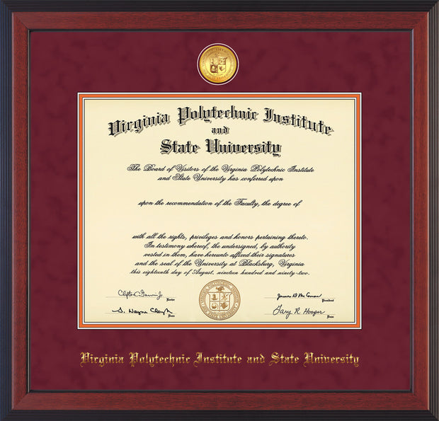 Image of Virginia Tech Diploma Frame - Cherry Reverse - w/24k Gold-Plated Medallion VT Name Embossing - Maroon Suede on Orange mats