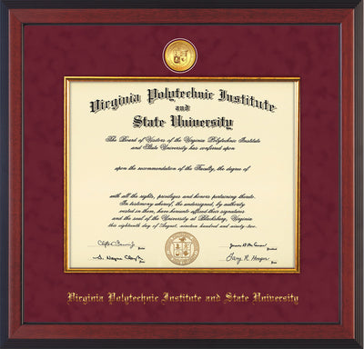 Image of Virginia Tech Diploma Frame - Cherry Reverse - w/24k Gold-Plated Medallion & Fillet - w/VT Name Embossing - Maroon Suede mat