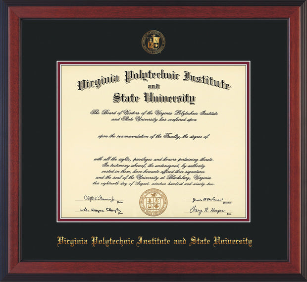 Image of Virginia Tech Diploma Frame - Cherry Reverse - w/Embossed VT Seal & Name - Black on Maroon mat