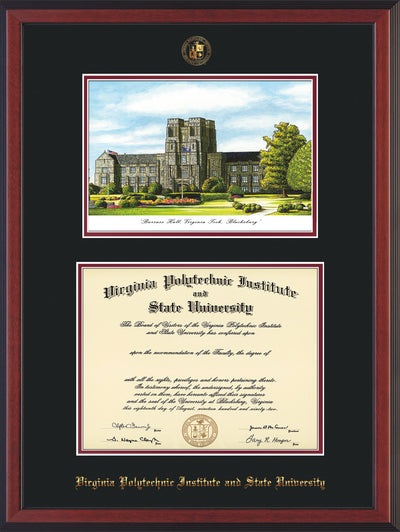 Image of Virginia Tech Diploma Frame - Cherry Reverse - w/Embossed VT Seal & Name - w/Burruss Hall Campus Watercolor - Black on Maroon mat