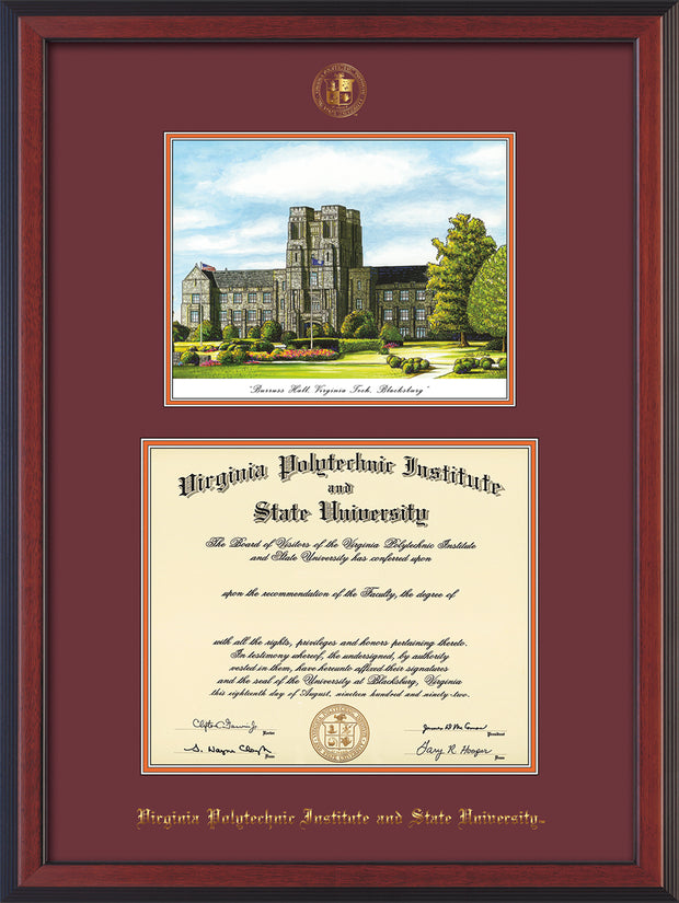 Image of Virginia Tech Diploma Frame - Cherry Reverse - w/Embossed VT Seal & Name - w/Burruss Hall Campus Watercolor - Maroon on Orange mat