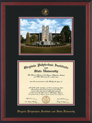 Image of Virginia Tech Diploma Frame - Cherry Reverse - w/Embossed VT Seal & Name - w/Burruss Memorial Campus Watercolor - Black on Maroon mat