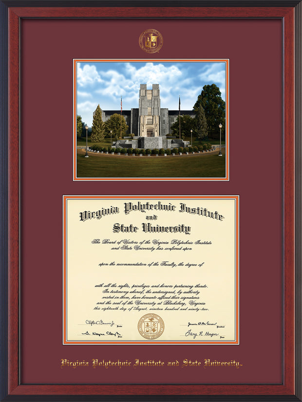 Image of Virginia Tech Diploma Frame - Cherry Reverse - w/Embossed VT Seal & Name - w/Burruss Memorial Campus Watercolor - Maroon on Orange mat