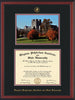 Image of Virginia Tech Diploma Frame - Cherry Reverse - w/Embossed VT Seal & Name - w/Fall Burruss Campus Watercolor - Black on Maroon mat