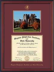 Image of Virginia Tech Diploma Frame - Cherry Reverse - w/Embossed VT Seal & Name - w/Fall Burruss Campus Watercolor - Maroon on Orange mat