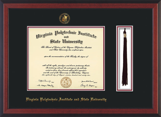 Image of Virginia Tech Diploma Frame - Cherry Reverse - w/Embossed VT Seal & Name - Tassel Holder - Black on Maroon mat