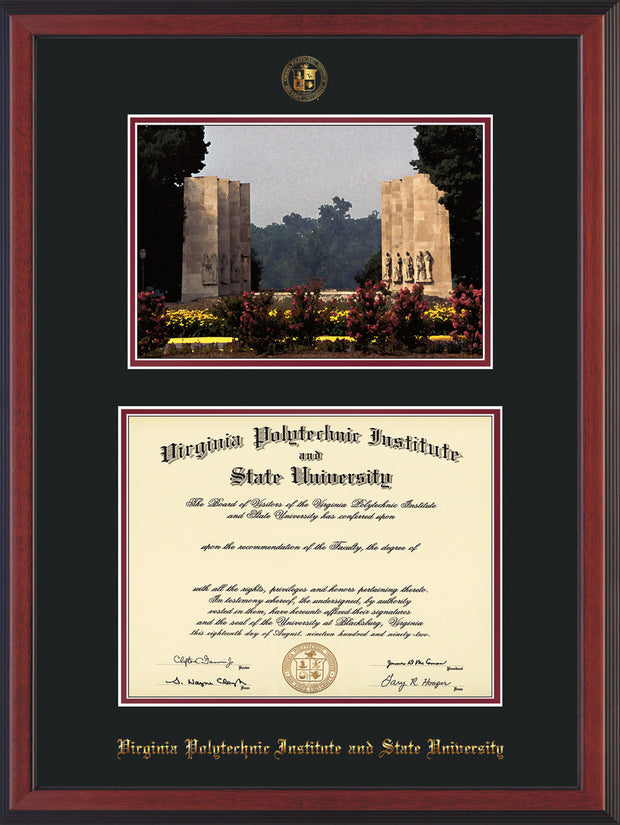 Image of Virginia Tech Diploma Frame - Cherry Reverse - w/Embossed VT Seal & Name - w/War Memorial Campus Watercolor - Black on Maroon mat