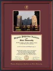 Image of Virginia Tech Diploma Frame - Cherry Reverse - w/Embossed VT Seal & Name - w/War Memorial Campus Watercolor - Maroon on Orange mat
