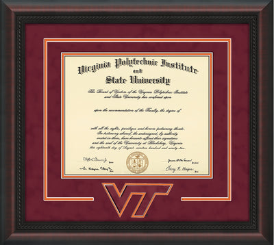 Image of Virginia Tech Diploma Frame - Mahogany Braid - w/3D Laser VT Logo Cutout - Maroon Suede on Orange mat