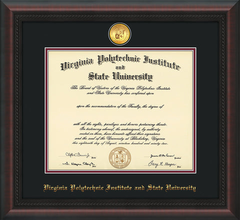 Image of Virginia Tech Diploma Frame - Mahogany Braid - w/24k Gold-Plated Medallion VT Name Embossing - Black on Maroon mats
