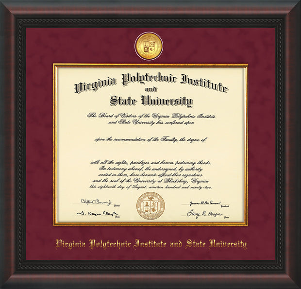 Image of Virginia Tech Diploma Frame - Mahogany Braid - w/24k Gold-Plated Medallion & Fillet - w/VT Name Embossing - Maroon Suede mat