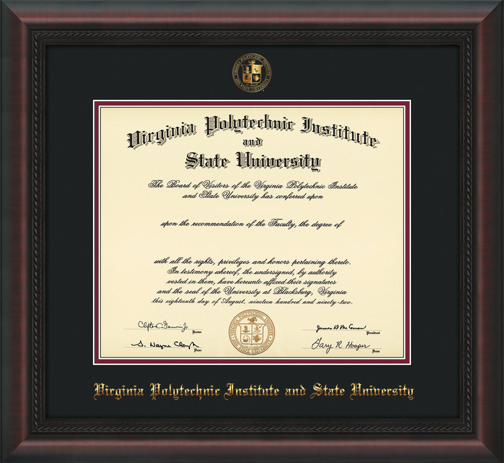 Virginia Tech Diploma Frame Mahogany Braid W Vt Seal Black