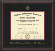 Image of Virginia Tech Diploma Frame - Mahogany Braid - w/Embossed VT Seal & Name - Black on Maroon mat