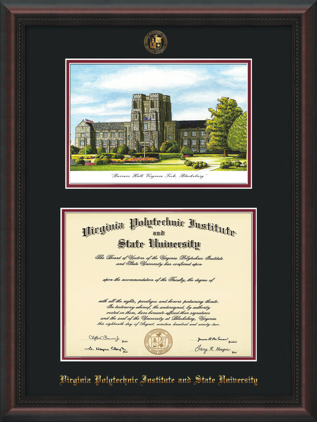 Image of Virginia Tech Diploma Frame - Mahogany Braid - w/Embossed VT Seal & Name - w/Burruss Hall Campus Watercolor - Black on Maroon mat