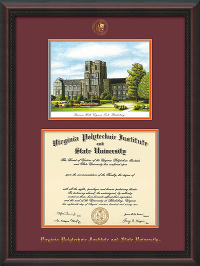 Image of Virginia Tech Diploma Frame - Mahogany Braid - w/Embossed VT Seal & Name - w/Burruss Hall Campus Watercolor - Maroon on Orange mat