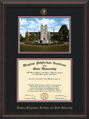 Image of Virginia Tech Diploma Frame - Mahogany Braid - w/Embossed VT Seal & Name - w/Burruss Memorial Campus Watercolor - Black on Maroon mat