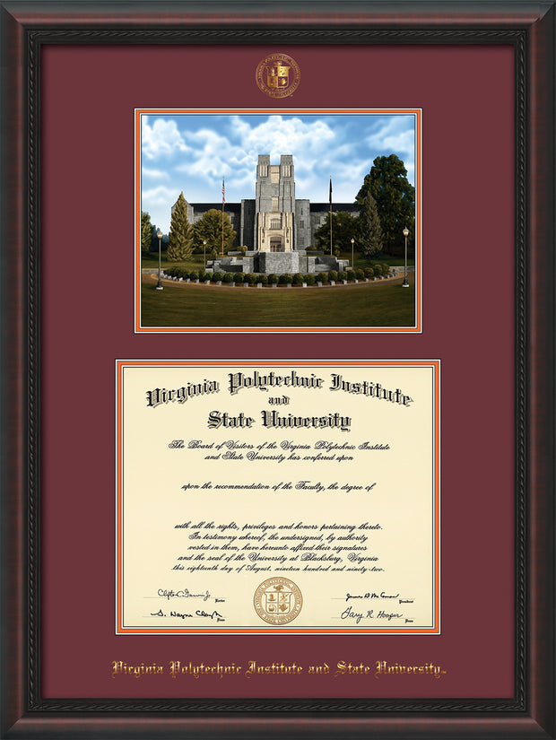 Image of Virginia Tech Diploma Frame - Mahogany Braid - w/Embossed VT Seal & Name - w/Burruss Memorial Campus Watercolor - Maroon on Orange mat