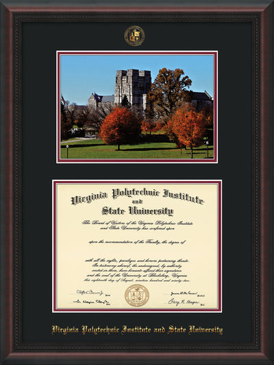 Image of Virginia Tech Diploma Frame - Mahogany Braid - w/Embossed VT Seal & Name - w/Fall Burruss Campus Watercolor - Black on Maroon mat