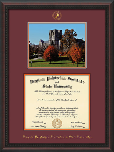 Image of Virginia Tech Diploma Frame - Mahogany Braid - w/Embossed VT Seal & Name - w/Fall Burruss Campus Watercolor - Maroon on Orange mat