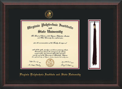 Image of Virginia Tech Diploma Frame - Mahogany Braid - w/Embossed VT Seal & Name - Tassel Holder - Black on Maroon mat