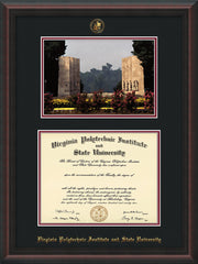Image of Virginia Tech Diploma Frame - Mahogany Braid - w/Embossed VT Seal & Name - w/War Memorial Campus Watercolor - Black on Maroon mat