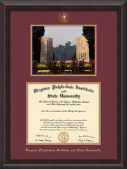 Image of Virginia Tech Diploma Frame - Mahogany Braid - w/Embossed VT Seal & Name - w/War Memorial Campus Watercolor - Maroon on Orange mat