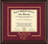 Image of Virginia Tech Diploma Frame - Mahogany Lacquer - w/3D Laser VT Logo Cutout - Maroon Suede on Orange mat