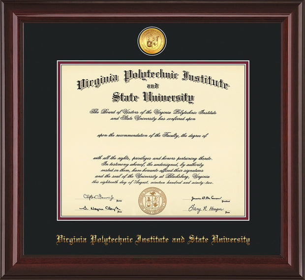 Image of Virginia Tech Diploma Frame - Mahogany Lacquer - w/24k Gold-Plated Medallion VT Name Embossing - Black on Maroon mats