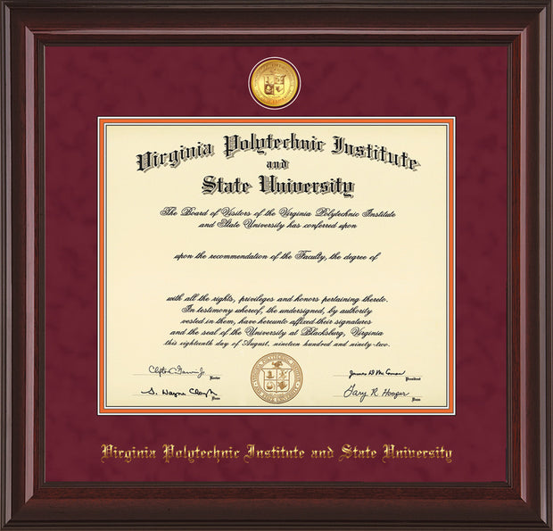Image of Virginia Tech Diploma Frame - Mahogany Lacquer - w/24k Gold-Plated Medallion VT Name Embossing - Maroon Suede on Orange mats