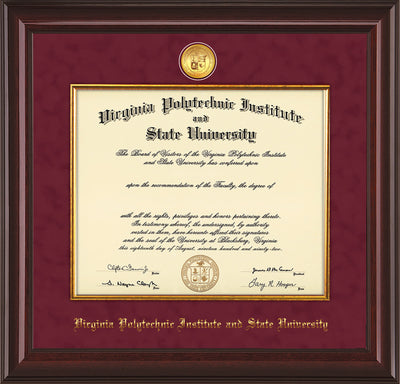 Image of Virginia Tech Diploma Frame - Mahogany Lacquer - w/24k Gold-Plated Medallion & Fillet - w/VT Name Embossing - Maroon Suede mat