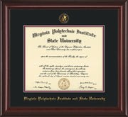 Image of Virginia Tech Diploma Frame - Mahogany Lacquer - w/Embossed VT Seal & Name - Black on Maroon mat