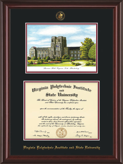 Image of Virginia Tech Diploma Frame - Mahogany Lacquer - w/Embossed VT Seal & Name - w/Burruss Hall Campus Watercolor - Black on Maroon mat