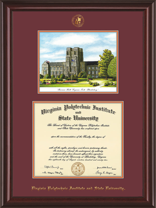 Image of Virginia Tech Diploma Frame - Mahogany Lacquer - w/Embossed VT Seal & Name - w/Burruss Hall Campus Watercolor - Maroon on Orange mat