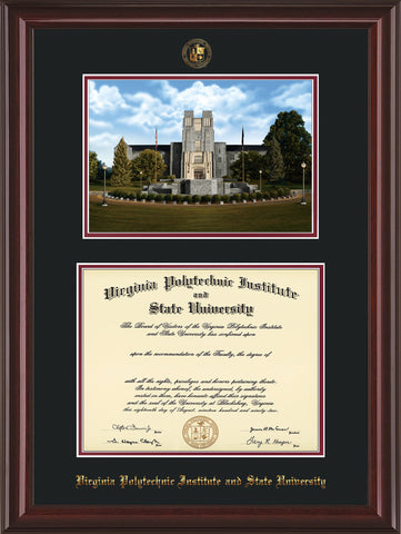 Image of Virginia Tech Diploma Frame - Mahogany Lacquer - w/Embossed VT Seal & Name - w/Burruss Memorial Campus Watercolor - Black on Maroon mat