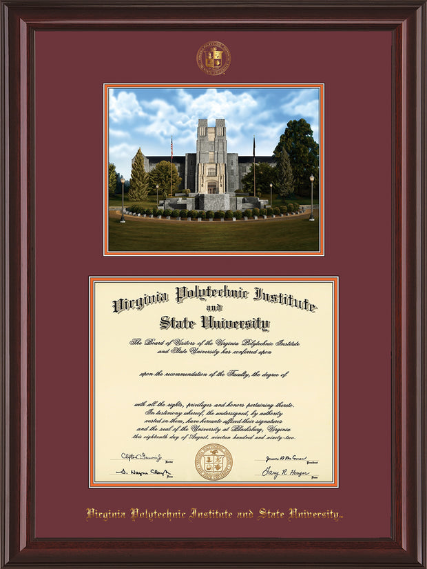 Image of Virginia Tech Diploma Frame - Mahogany Lacquer - w/Embossed VT Seal & Name - w/Burruss Memorial Campus Watercolor - Maroon on Orange mat