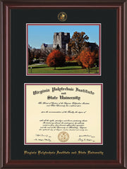 Image of Virginia Tech Diploma Frame - Mahogany Lacquer - w/Embossed VT Seal & Name - w/Fall Burruss Campus Watercolor - Black on Maroon mat