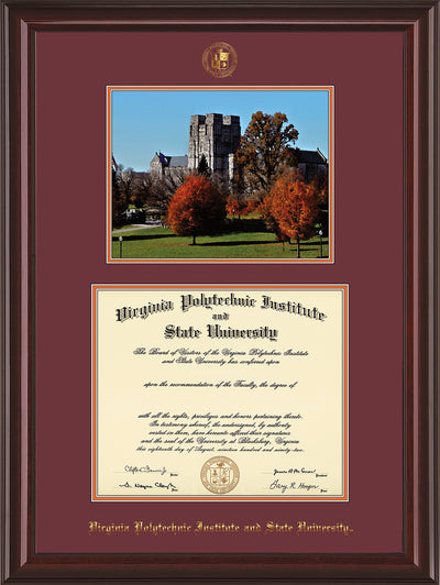 Image of Virginia Tech Diploma Frame - Mahogany Lacquer - w/Embossed VT Seal & Name - w/Fall Burruss Campus Watercolor - Maroon on Orange mat