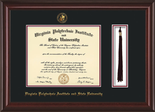 Image of Virginia Tech Diploma Frame - Mahogany Lacquer - w/Embossed VT Seal & Name - Tassel Holder - Black on Maroon mat