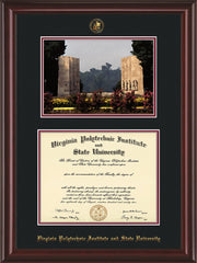 Image of Virginia Tech Diploma Frame - Mahogany Lacquer - w/Embossed VT Seal & Name - w/War Memorial Campus Watercolor - Black on Maroon mat