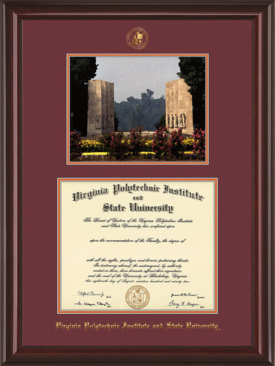 Image of Virginia Tech Diploma Frame - Mahogany Lacquer - w/Embossed VT Seal & Name - w/War Memorial Campus Watercolor - Maroon on Orange mat